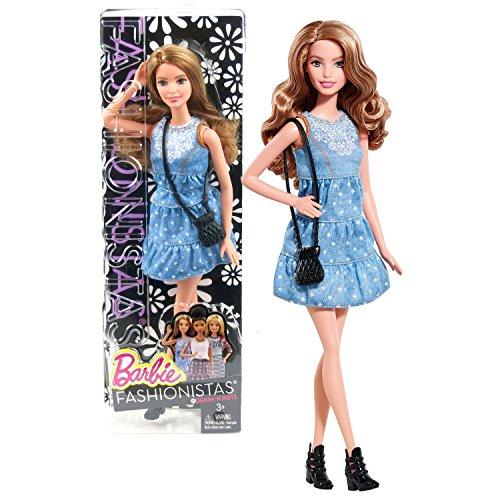 Mattel Year 2014 Barbie Fashionistas Series 12 Inch Doll Set - #8 Denim 'N Dots SUMMER (CLN67) in Blue Denim Dress with Purse (Barbie Fashionistas Doll Set)