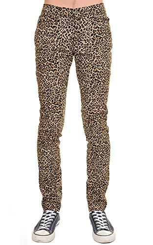 Herren Röhren Jeans Natürlich Leopard Punk-Rock Glam Indie Retro Vintage 28 30 32 34 36 - Natürlich Lepoard, 36