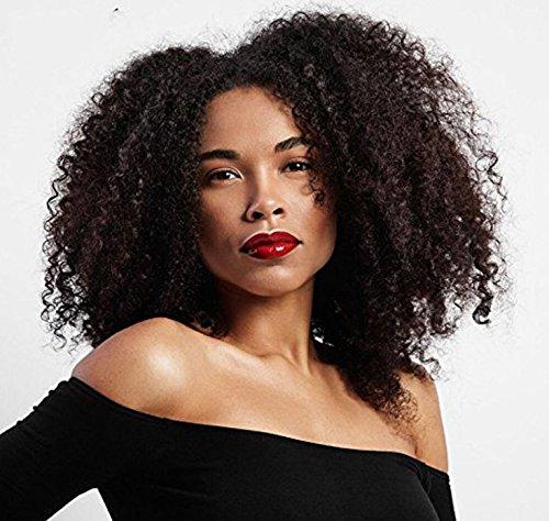 (Party Queen Natürliche lockiges Afro-Perücken für Damen schwarz billig Full Maschine kurz Kinky Haar Jet Schwarz Hitze Widerstand Faser 35,6cm)