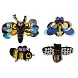 #3: Segolike 4 Pieces/set Bee Dragonfly Sequins Crystal Patches Embroidered Applique Embellishment Sewing on Clothes Craft