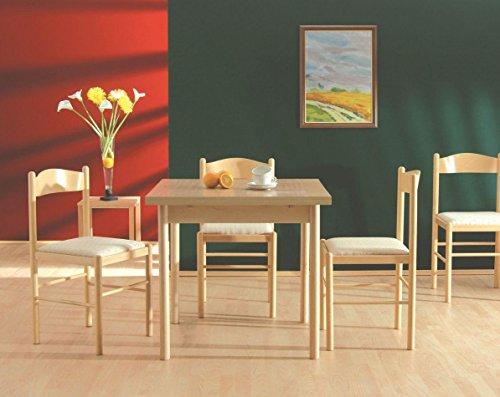 Esstisch Esszimmertisch 80x80 cm teilmassiv, Ausziehbar auf 140, Farbe: Buche