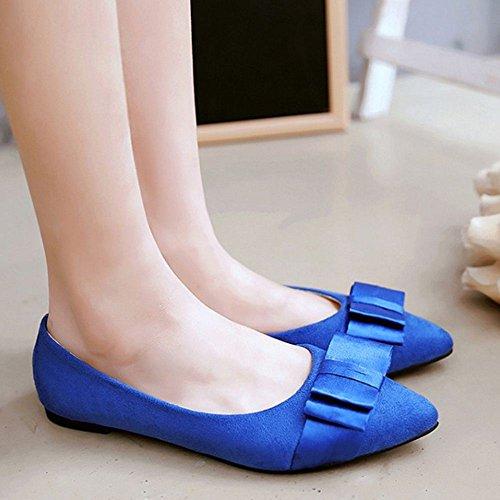 Zanpa Donna Basse Pompes Con Bow Blue