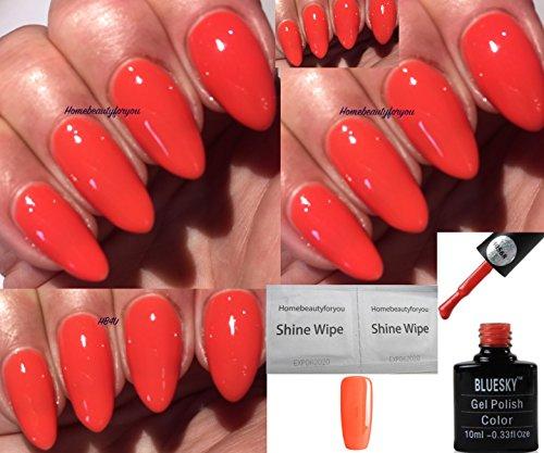 Bluesky 80568-Motiv, Orange, schimmernder Gel-Nagellack, UV, LED, Soak-Off, 10ml plus 2Homebeautyforyou Glanztücher