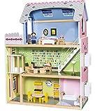Playtive Junior Puppenhaus XXL 29-teilig Holzpuppenhaus Holzspilelzeug Puppenstube Villa Spiel...