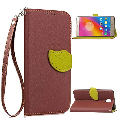 TAITOU Lenovo Vibe S1Lite Case, Vivid Knurling Tree Leaf Skin Lid Wallet Cover, Hanging Sling Credit ID Card Slot, New PU Leather Ultralight Awesome Case for Lenovo Vibe S1 Lite Brown