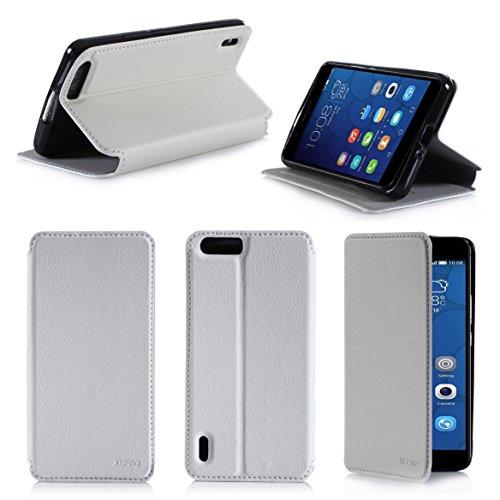Huawei Honor 6 Plus 4G/LTE Dual Sim Tasche Leder Hülle Weiß Cover mit Stand - Zubehör Etui Huawei Honor 6+ Flip Case Schutzhülle (PU Leder, Handytasche Weiss white) - XEPTIO accessories - Dual-sim Mit Honor Huawei 6 Plus