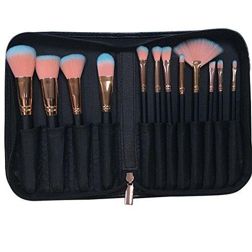 Vi.yo 12 Pcs ensemble de pinceaux de maquillage professionnel fond de teint fard à joues pinceaux ensemble d'outils avec un sac pratique (style 2)