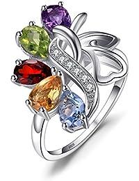 TJC Women 925 Sterling Silver Garnet, Chinese Peridot, Sky Blue Topaz, Citrine and Amethyst Half Eternity Ring Size O
