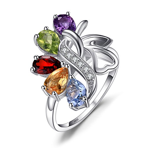 JewelryPalace Butterfly 2.4ct Echter Amethyst Granat Peridot Citrin Blauer Topas Cocktail Ring 925 Sterling Silber