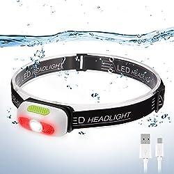Linterna Frontal LED, SGODDE USB Recargable Súper Brillante Luz para Cabeza 5 Modos Impermeable Mini Peso Ligero para Acampar, Montar en Bicicleta de Montaña, Pescar, Bodegas, Acampar, Caminar