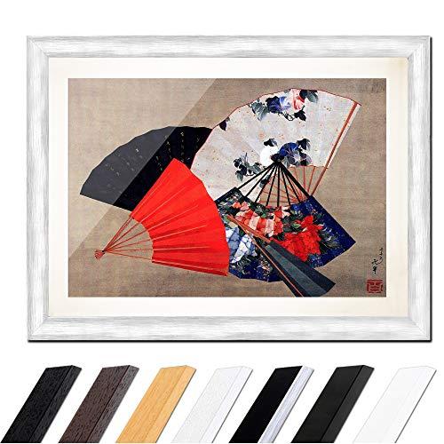 Bild mit Rahmen - Katsushika Hokusai Fünf Fächer 30x20cm ca. A4 - Gerahmter Kunstdruck inkl. Galerie Passepartout Alte Meister - Rahmen Silber -