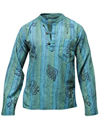 Chemise en coton bleu turquoise stonewash multicolore hippie boho vêtements