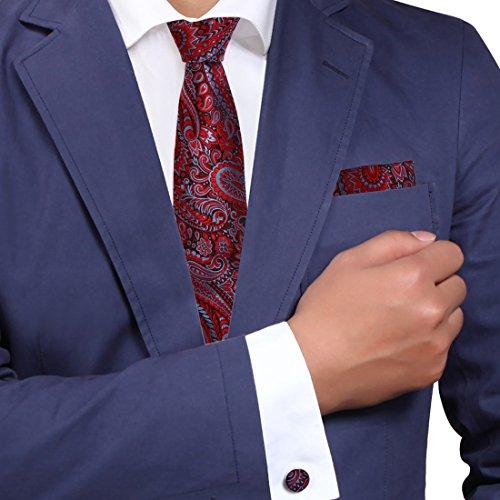 H6014 Rot Paisleys Komfort Geschenk idee Seide Krawattes Manschettenkn?pfe Taschentuch Valentines Geschenks Set 3PT Von Y&G