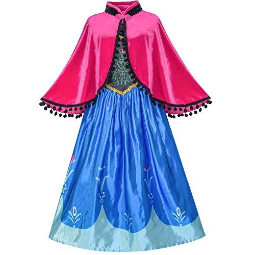 nna Kostüm Kleiden Oben Cosplay Mantel Schneeflocke Gr. 116 (Schneeflocke Kostüm Mädchen)