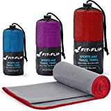 Fit-Flip Grau mit roten Rand, 1x 140x70cm | microfaser handtücher Badetuch microfaser handtücher Backpacking