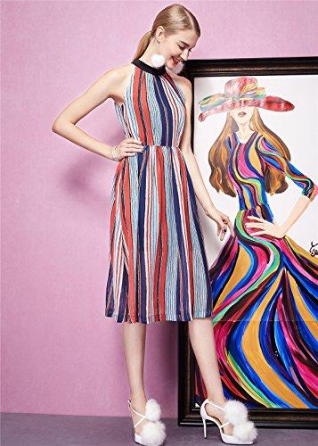 Luna et Margarita Robe Midi Femme Évasée Rayée En Multicouleur Sans Manche Style Retro rayé en multicouleur +col montant