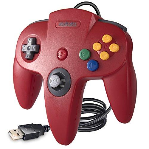 kiwitatá Classic N64USB Controller Gamepad, N64Bit Retro USB Wired Game Controller für Windows PC & Mac retropi System Rot - Nes 3 1 2 Mario Super