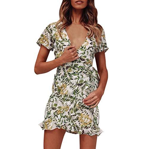 Frauen zerzaust Kleid mit V-AusschnittSchnürung gedruckt kurzärmlig Abendkleid mit Gürtel URIBAKY