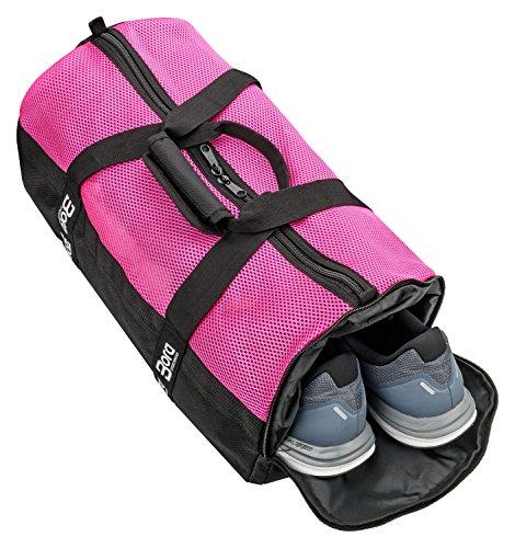 Sporttasche Mesh 25L mit Schuhfach und Mesh-Oberseite für beste Belüftung - klein mit abgetrenntem Nassfach, Wertfach und Schultergurt - in Rosa, Pink und Lila für Damen & Mädchen (Pink)