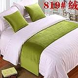 pomid Bett Renner Dekoration Bett Schal Bett Flagge, Bett Dekoration hochwertige einfarbig Bett Schwanz Streifen, Fluoreszierende grün 819# Samt, 2m Bett (Größe: 50x260cm)