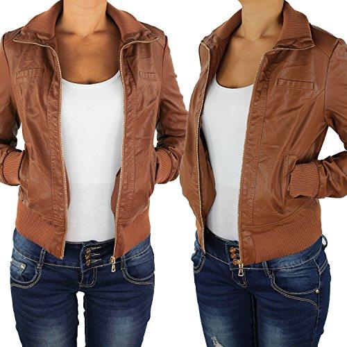 Damen Lederjacke Kunstlederjacke Leder Jacke Damenjacke Jacket Bikerjacke Blouson in vielen Farben S - 4XL Nussbraun