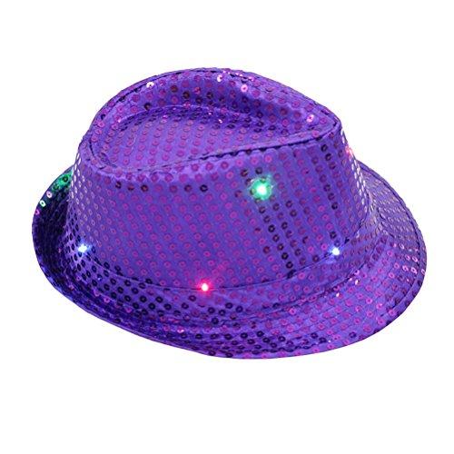 BESTOYARD LED Party Hut Jazz Hut Blinkende mit Pailletten für Silvester Party Kostüm Unisex (lila)