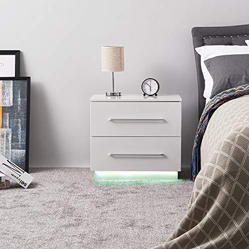 Anaelle Pandamoto Table de Chevet Moderne avec Lumineux LED et 2 Tiroirs, Fourniture de la Chambre, Taille: 55 * 50 * 37cm, Poids: 11kg, Blanc
