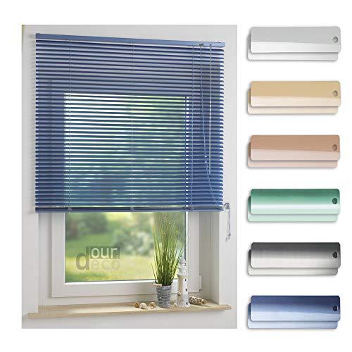 ourdeco® Aluminium-Jalousie / 100 x 130 Hellblau (Breite x Höhe) / Montage an Wand oder Decke, Premium Alu-Jalousie