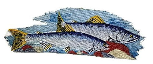 BeyondVision Die Prämie der Natur schönen Brauch Fisch Porträts stickte Eisen Nähen Patches 7 x4 weiß, blau grau