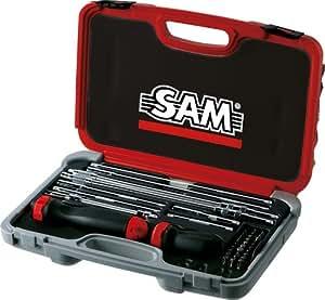 SAM Outillage 266-J41 Coffret de vissage avec tournevis à cliquet/embout de vissage et accessoires pour douilles 1/4