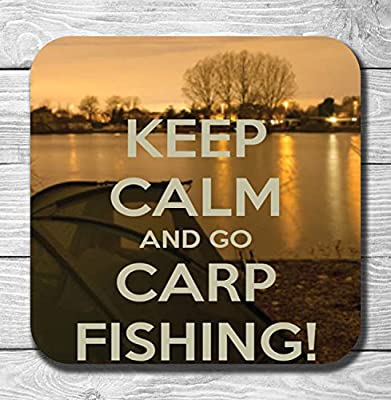Carp Fishing Gift Wooden Drinks Coaster / Mat (Keep Calm) from AK Gifts