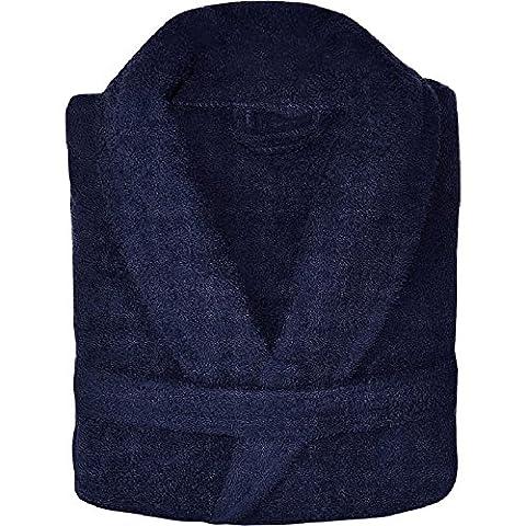 Homme Mesdames Peignoir Peignoir en tissu éponge col châle 100% coton neuf, bleu marine, Taille M