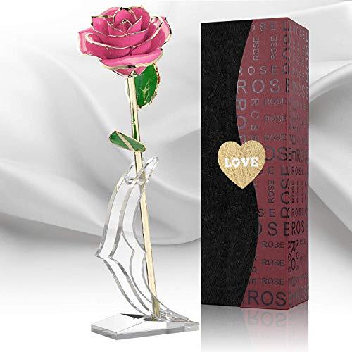 Rosa 24K Oro, Rosa Placcata Oro con Confezione Regalo per Gli Amici Della Mamma Amore, Rosa Bagnata D'oro per Rosa Artificiale di Valentino 24k con Supporto per L'anniversario di Compleanno (Rosa)