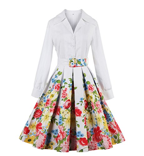 E-Girl M132018D Robe de bal Vintage pin-up 50's Rockabilly robe de soirée cocktail,S-XXL Blanc