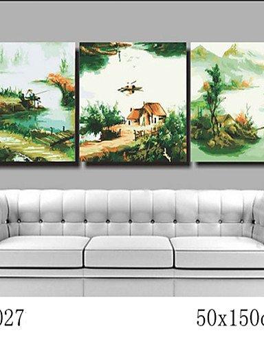 KK&MM pittura a olio digitale fai da te con una solida cornice di legno famiglia pittura divertimento tutto da solo il pescatore pesca 7027, l