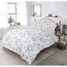 Sleepdown Floral Monochrome Grey Duvet Set - Super King Size Bedding Quilt Cover & Pillowcases Good Nights Sleep