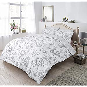 Sleepdown Floral Monochrome Grey Duvet Set - King Size Bedding Quilt Cover & Pillowcases Good Nights Sleep