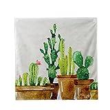 Lumanuby Grün Kaktus Topfpflanzen Wandteppich Hippie Flanell Tapisserie Pflanze von Cactus Wand Decor für Kinderzimmer und Kindergarten Arbeitszimmer Oder Schlafzimmer 70*70cm