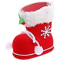Ornamenti di Natale, Asnlove Candy Boot Natale decorazione ornamento Candy spuntini contenitore della penna con fiocco di neve rosso,piccolo