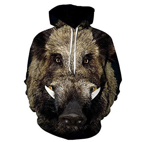 HOOYM 3D Pullover Hoodie Für Männer Und Frauen Wildschwein 3D Digitaldruck Kapuzenpullover Größe Männer Und Frauen Baseballuniform -