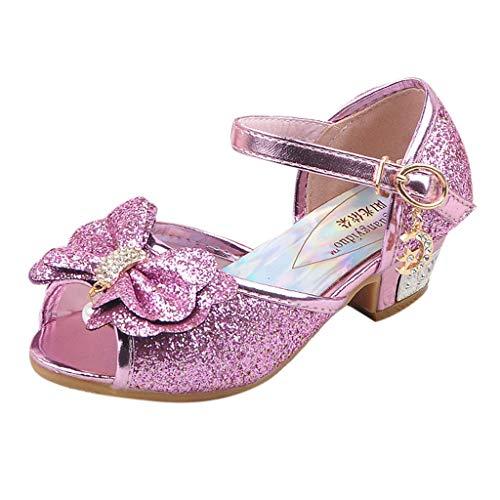 BaZhaHei Baby Prinzessin Schuhe, Mädchen Neugeborenes Gute Qualität Schuhe Prinzessin Schnee Königin High Heel Schuhe Kinder Party Pumps Perle Kristall Bowknot einzelne Hausschuhe ()
