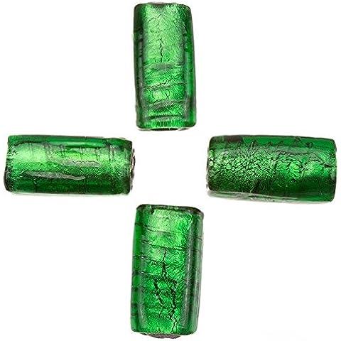 Argento a righe verde rettangolo cubo Perle di Vetro 18x 8mm Pk4