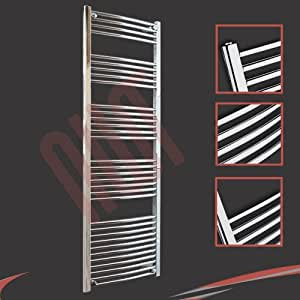 600mm(w) x 1800mm(h) Curved Chrome Heated Towel Rail, Radiator, Warmer 3479 BTUs Bathroom Central Heating Ladder Rail