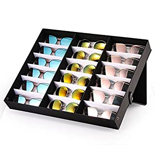 ABEDOE Sunglasses Display Case, 18 Grids Eyewear Sunglasses Box Storage Case Organizer for Glasses, Jewellery and Watches