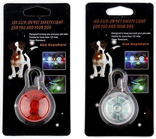 Leuchte für Hundehalsband,Sicherheitslicht für Hunde, 2LED-Leuchten, LED-Sicherheitsbeleuchtung, LED-Beleuchtung für Läufer, LED-Leuchten zum Anklammern, auch für Baby-Kinderwagen und Kinder-Rucksäcke (Batterien im Lieferumfang enthalten)