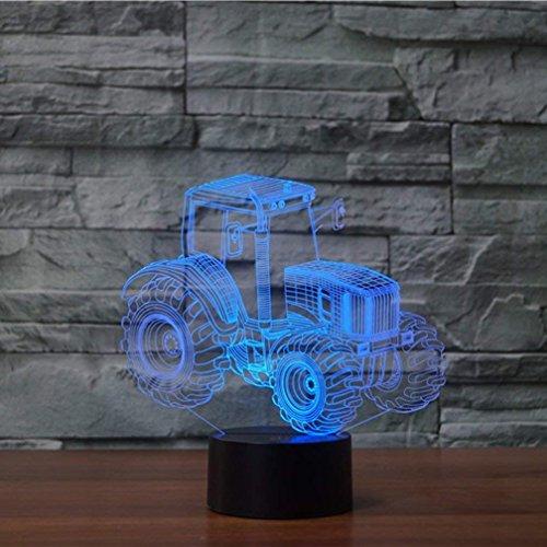 HPBN8 3D Traktor Lampe USB Power 7 Farben Amazing Optical Illusion 3D wachsen LED Lampe Formen Kinder Schlafzimmer Nacht Licht【7 bis 15 Tage in Deutschland angekommen】