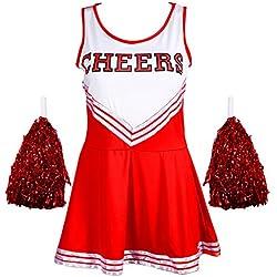 Redstar Disfraz de animadora con pompones, Women's, color rosso, tamaño 6 - 8 S