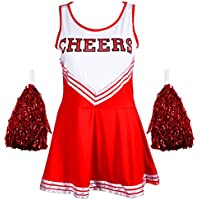 Disfraz de animadora Redstar, vestido con pompones, disfraz deportivo para Halloween, High School Musical, 6 colores, tallas de 34a 44, Women's, color rosso, tamaño Ladies 14-16 UK