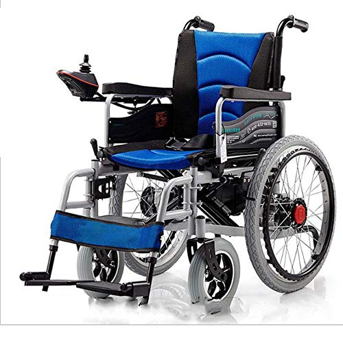 MZLJL Electric Wheelchair,Modern Intelligent Durable Disabled Elderly Folding Outdoor Hand Push/Electric Comfortable Four-Wheeled Electric Wheelchair(48V12A Lithium Battery),Blue - Electric Power Stuhl