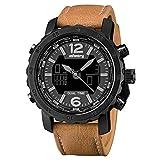 Infantry Herren Analog-Digital Uhr Chronograph Kalender Outdoor Braun Leder Armband